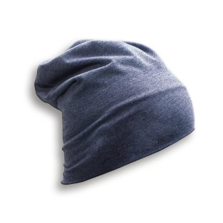 HEADWEAR  STRICKMÜTZE AUS JERSEY (T-Shirtstoff) Made in EU JEANS - DENIM L (Länge 28 cm)
