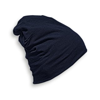 HEADWEAR  STRICKMÜTZE AUS JERSEY (T-Shirtstoff) Made in EU MARINEBLAU - NAVY L (Länge 28 cm)