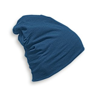 HEADWEAR  STRICKMÜTZE AUS JERSEY (T-Shirtstoff) Made in EU BLAU - TRUE BLUE L (Länge 28 cm)